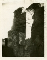 I.5.1 Pompeii. (numbered as I.1.9) 1937-39. Detail of left (east) side of entrance portico. Photo courtesy of American Academy in Rome, Photographic Archive.  Warsher collection no. 1189