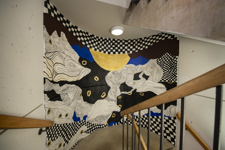 West stairwell, between 11th and 12th floors