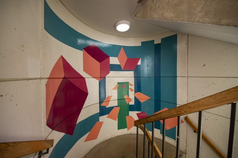 West stairwell, between 16th and 17th floors