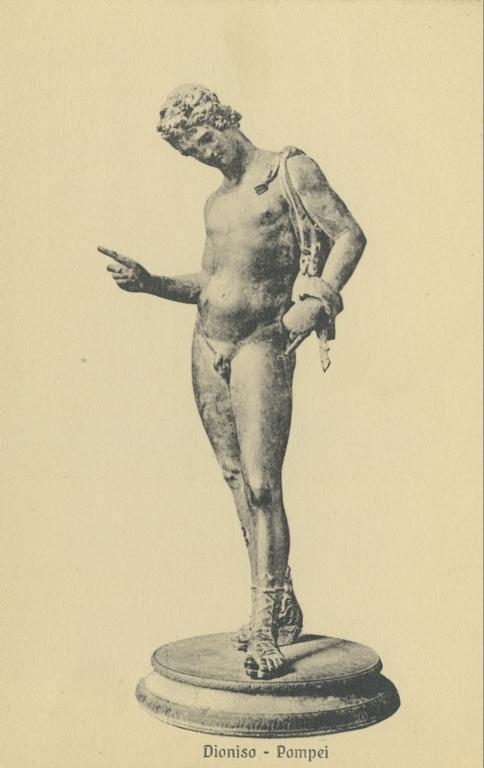 VII.12.17 Pompeii. Undated postcard by Sommer.  Statuette of Narcissus, also sometimes described as Dionysus or Pan. Photo courtesy of Rick Bauer.