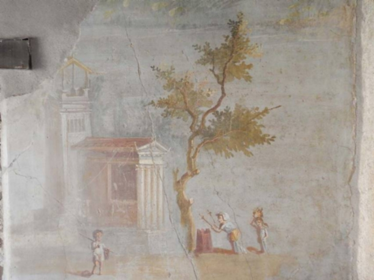 IX.5.9 Pompeii. June 2019. Room 8, detail from south wall painting of pygmies, tower and temple. Photo courtesy of Buzz Ferebee.