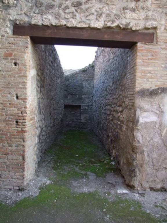 I.4.25 Domus L. Rapinasi Optati.  December 2007.  Room 26.  Corridor to servants quarters with stables at I.4.28.