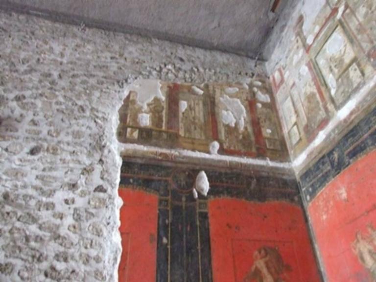 VI.15.1 Pompeii. December 2006. Upper north-west corner in room of the cupids or cherubs.