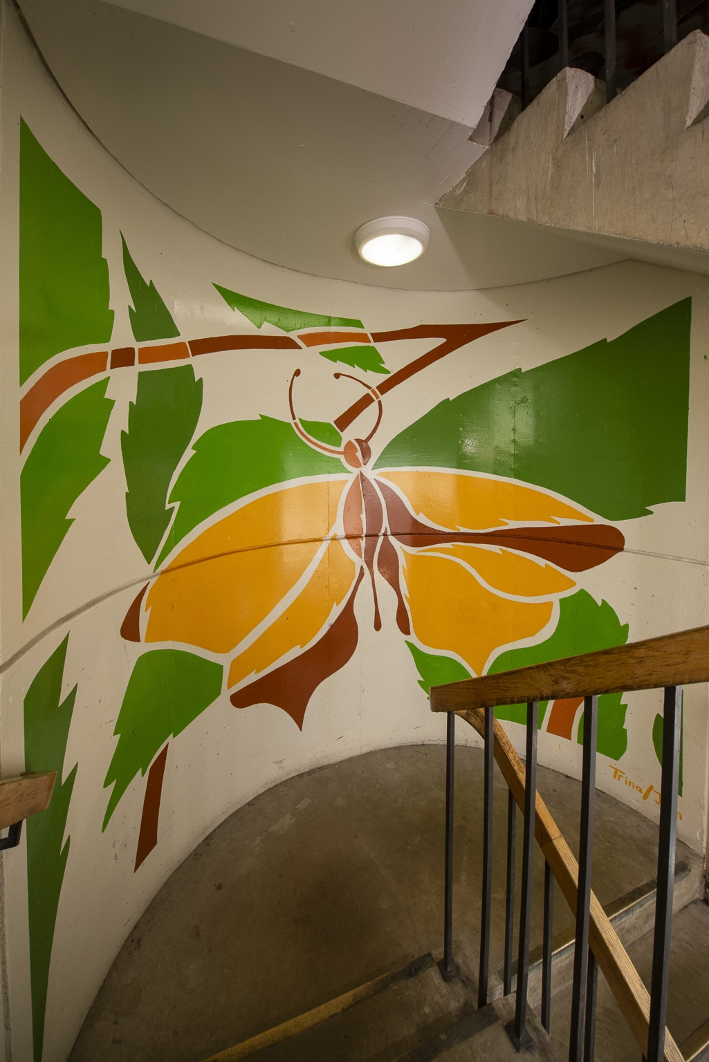 East stairwell, between 14th and 15th floors